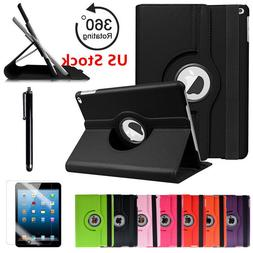 360 Rotating Folio PU Leather Case Smart Stand Cover For App