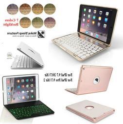 7 Color Backlit Bluetooth Keyboard Folio Case For iPad 5th 9
