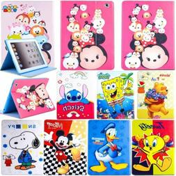 Kids Disney Cartoon Leather Smart Cover Case For iPad 5th 6t