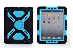 Pepkoo Ipad 2/3/4 Case Plastic Kid Proof Extreme Duty Dual P