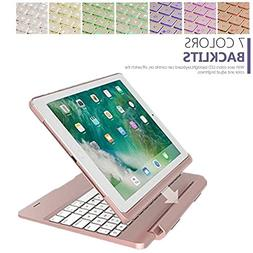 9.7 inch Air 2 iPad 7 Color Backlit Keyboard Cover,Businda D