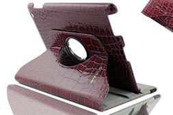 Apple iPad 2/3/4 Case - Elegani 360 Rotating PU Leather Croc
