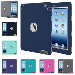 "For Apple iPad 4th Generation 9.7"" Tough Rubber Heavy Shockp"
