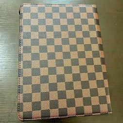 "Apple iPad PRO 12.9""  - Brown Checkered Plaid Stand Cover Ca"
