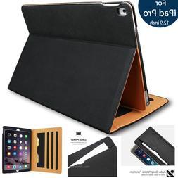 "Apple iPad Pro 12.9"" Leather Flip Case Cover w/Side Pocket"