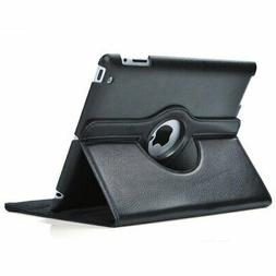 black 360 Degrees Rotating Stand Leather Case for CDH Ipad 2