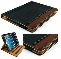New S-Tech Black and Tan Apple iPad Air 2 Soft Leather Walle