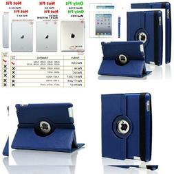 AiSMei Case for iPad 4 , Rotating Stand Cover Navy Blue