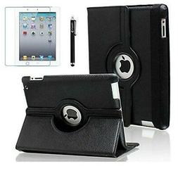 AiSMei Case for iPad 4 , Rotating Stand Cover 9.7-inch Black