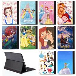 Disney Cartoon Princess PU Leather Stand Case Cover For Appl