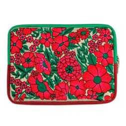 """Embroidered 10"""" Tablet Sleeve Padded Lined Case 'Blossoming"""