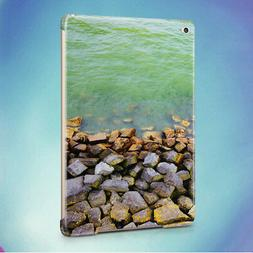 GREY STONES ON GREEN SEA WATER BACK HARD CASE COVER FOR APPL