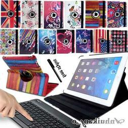 For iPad 2-3-4 / Air/ Pro Leather Stand Case Cover + Wireles