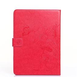iPad 2/3/4 Case,Embossed Floral Magnetic Flip PU Leather Wal