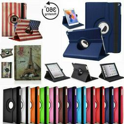For iPad 2 3 4 Case Cover 360 Rotating Folio Stand Leather &