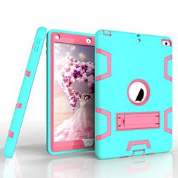"""New iPad 9.7"""" 2017 Case, Jeccy Dual layer Rugged Full-body S"""