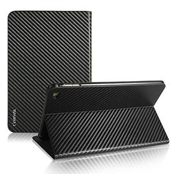 iPad Air 2 Case,Premium Carbon Fiber Lines Flip PU Leather C