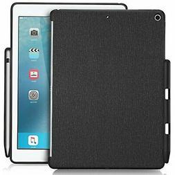 iPad 9.7 Case Black cover Apple pencil holder back smart key