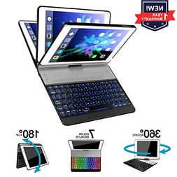 iPad 9.7 Keyboard Case/7 Color Backlit Keyboard Case/360 Fle