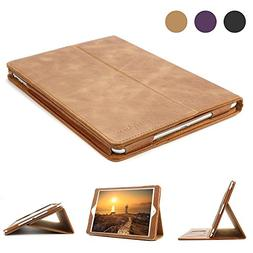 iPad 9.7 Leather Case, BoriYuan Vintage Genuine Leather Smar
