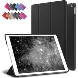 iPad Air 2 Case, ROARTZ Black Slim Fit Smart Rubber Coated F