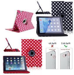 For iPad Air 2 Tablet Case Polka Dot Design 360 Swivel Prote
