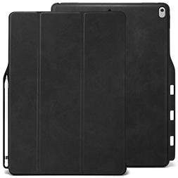 KHOMO iPad Pro 12.9 Inch Case with Pen Holder - DUAL Black P