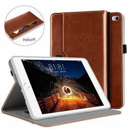 DTTO iPad Mini 4 Leather Folio Stand Case Brown w/ 9H Glass