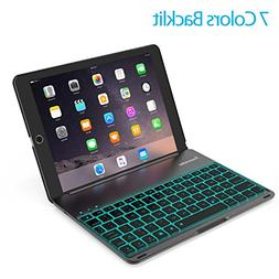 Keyboard Case for 2017 iPad Pro 10.5 - LED 7 Colors Backlit,