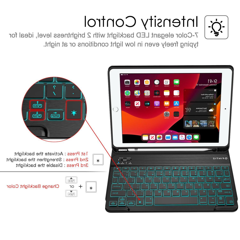 7 Color Backlight Keyboard Case for 7th Gen Pencil Holder