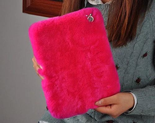 For iPad Plush Case, QKKE Luxury Soft Faux Rabbit Plush with Cute Bowknot Protective Cover for