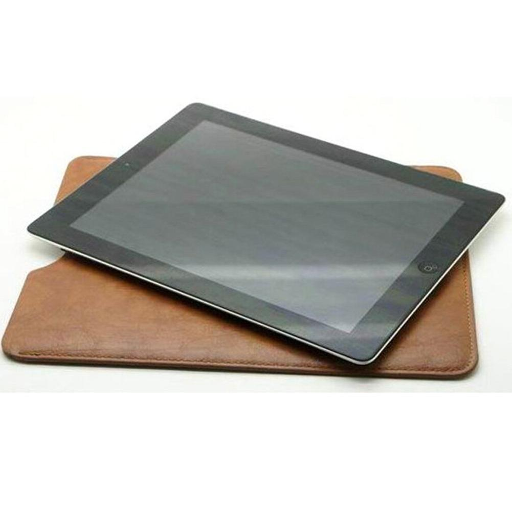 """Black/Brown Leather Sleeve Bag <font><b>Case</b></font> Pouch 10""""inch"""