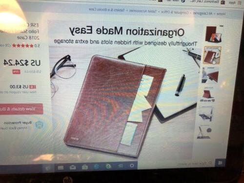 ESR Case for Pro 11 PU Leather Folio w Red NIP