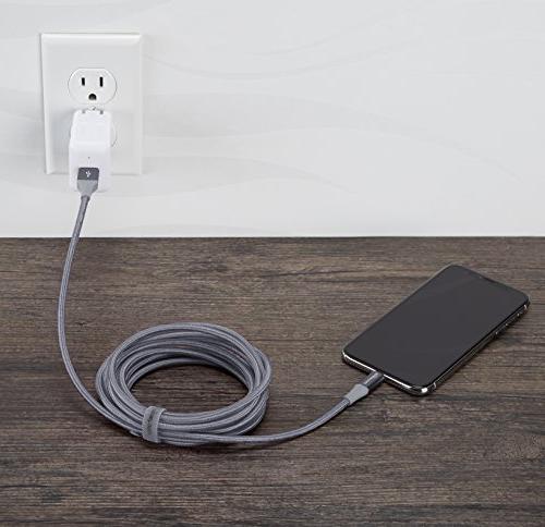 AmazonBasics Nylon Lightning USB A Cable, Advanced MFi - Grey, 10-Foot