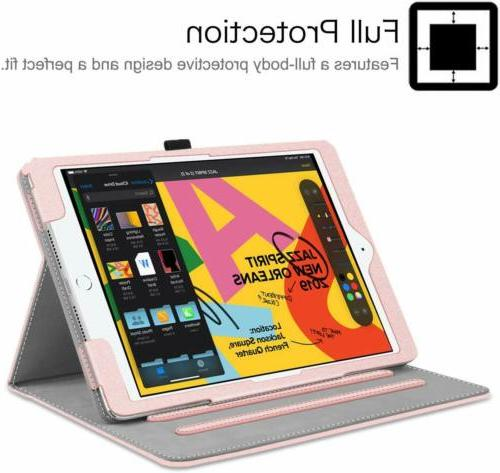 For iPad 7th Gen Stand Cover w/Pocket Holder