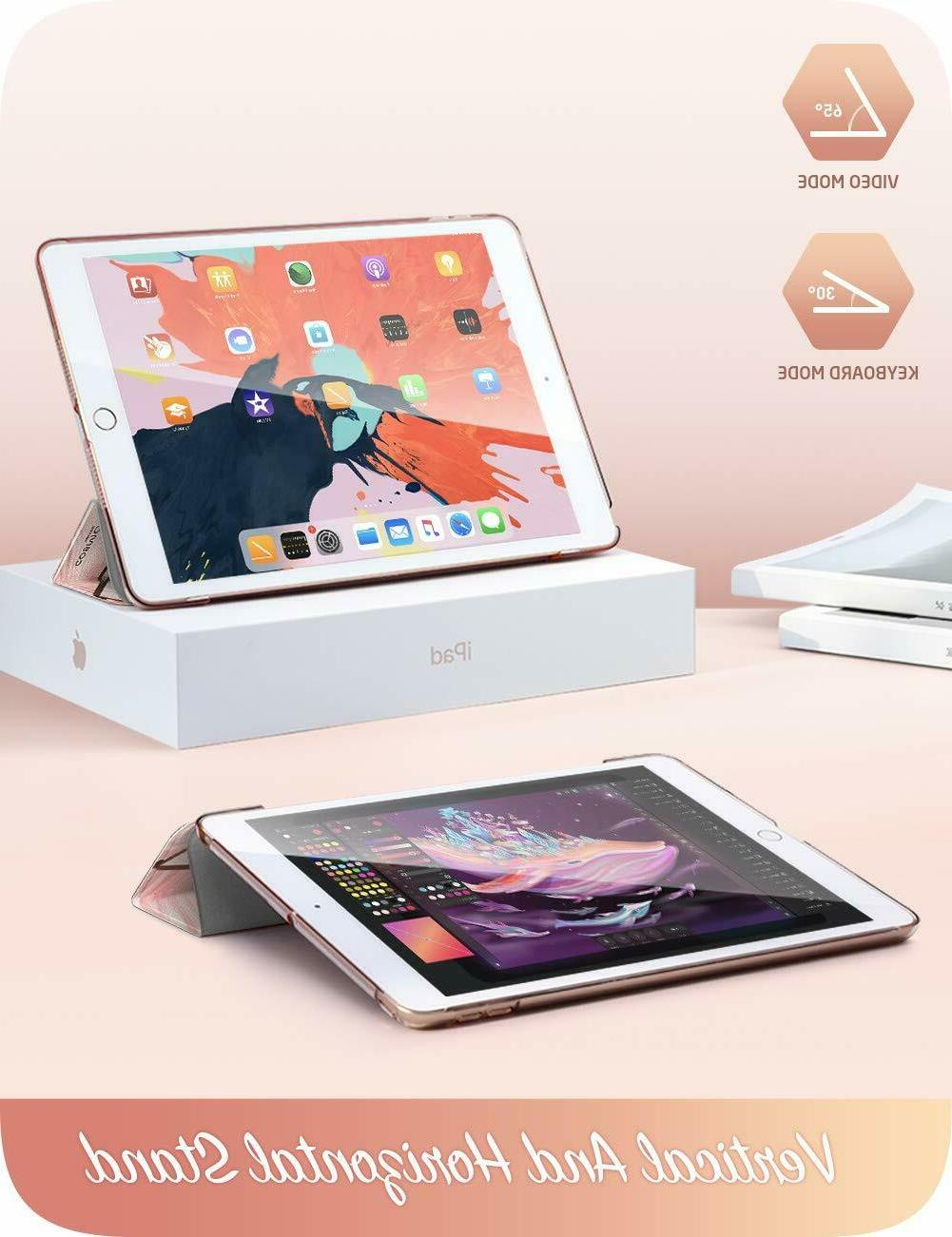 For iPad 7th Gen, Trifold Translucent Hard