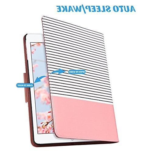 ULAK iPad iPad 9.7 inch Case, Slim Lightweight 360 Folding Stand Auto Wake/Sleep PU Leather Protective for iPad 9.7 Stripes