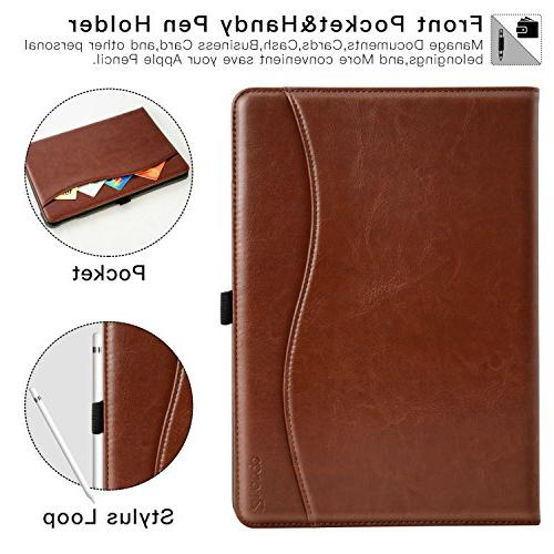 Ztotop Case for Pro 10.5 Premium Leather Business Slim Folding Cover for with Auto Document Slots, Multiple Viewing Angles,Brown