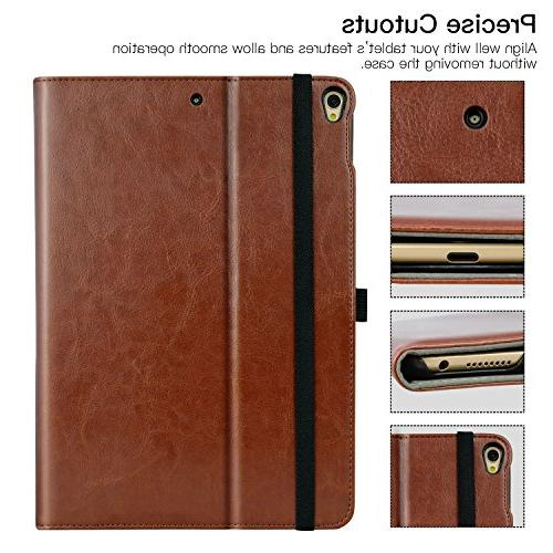 Ztotop iPad Pro 10.5 Premium Leather Folding Stand for iPad with Wake/Sleep Document Slots, Viewing Angles,Brown