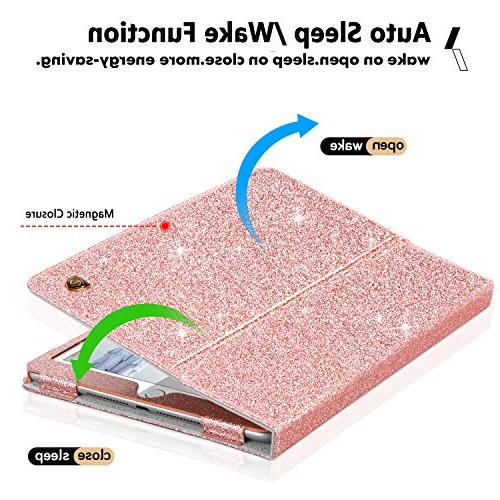 BENTOBEN iPad Case, iPad 9.7 Case, Case, Folding Stand Smart Holder Luxury Faux Leather Shockproof Protective Case, Rose