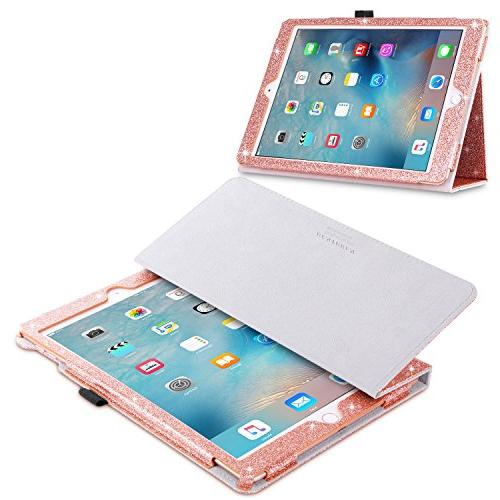 Case, iPad Case, iPad Air/Air Case, Folio Folding Stand Smart Holder Auto Wake/Sleep Faux Leather Shockproof Case, Rose