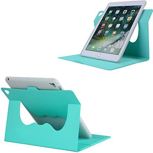 New iPad Case - AiSMei Lightweight Smart Leather TPU Cover for Apple iPad 2017, iPad Air - Mint Green