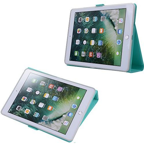 New iPad Case Lightweight Smart Leather TPU Cover for Apple New Air 2, - Mint