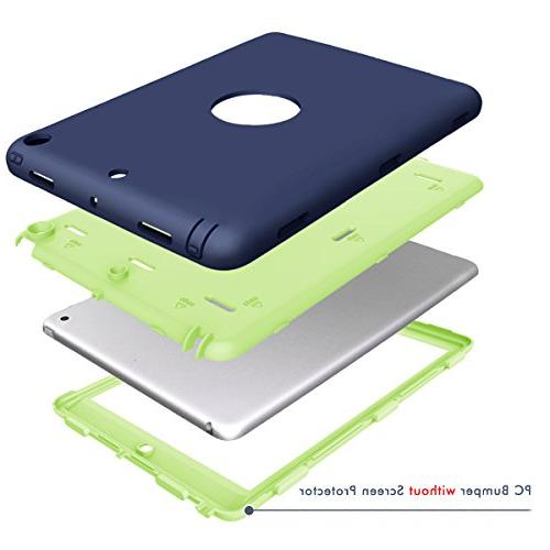 iPad 5th/6th Case, iPad 2018/2017 Hocase Absorbent Dual Bumper Protective Case for iPad Navy Blue/Lime Green