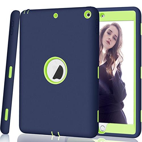 iPad Generation iPad Hocase Shock Dual Silicone+Hard Bumper for iPad - Navy Blue/Lime Green
