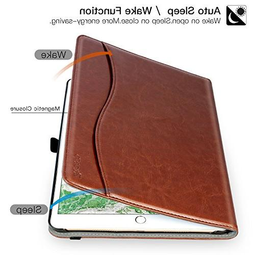 Pro Premium Leather Folding Stand Cover Document Multiple Viewing Angles,Brown