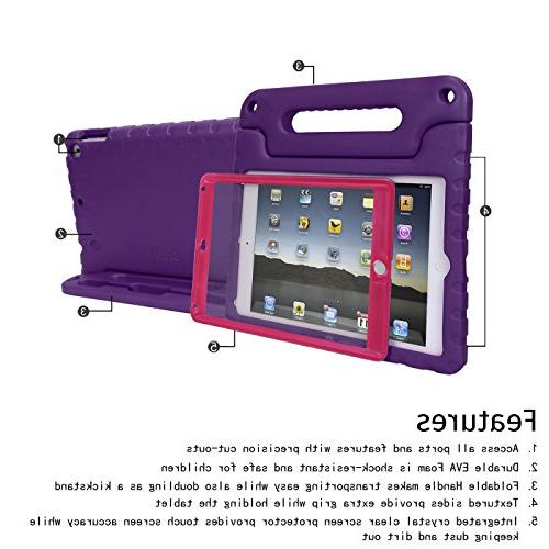 HDE 9.7-inch 2018 2017 Kids Bumper Hard Cover Stand Built Protector for New Education iPad 5th Purple Pink