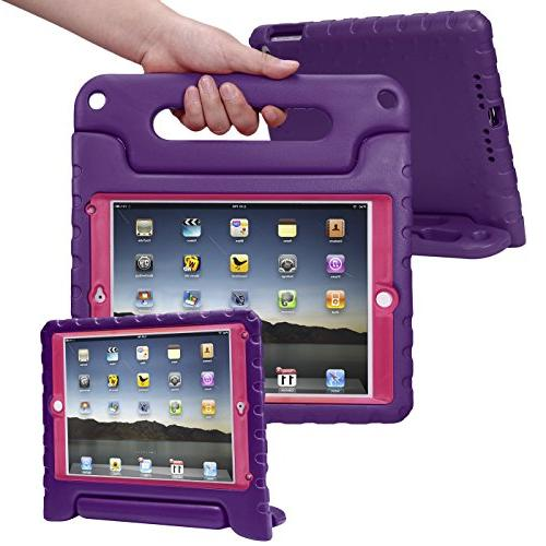 HDE for 9.7-inch 2017 Kids Bumper Cover Stand Built Protector for Apple iPad 5th Purple