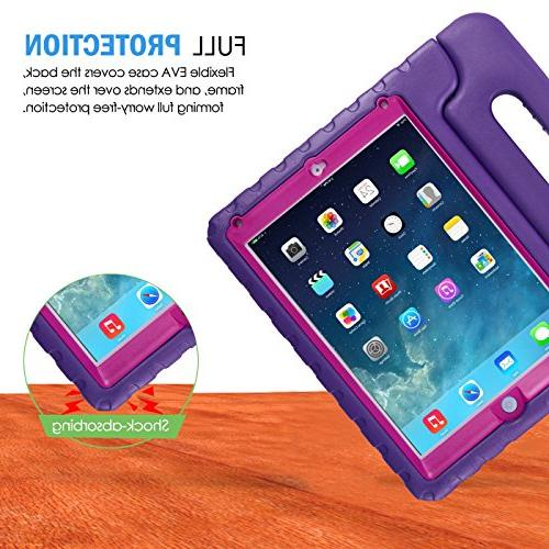 HDE Case for 9.7-inch 2018 2017 Kids Shockproof Bumper Cover Stand Built for New Apple iPad 5th Purple