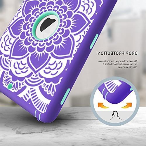 iPad Hocase Heavy Duty Absorbent Plastic Dual Layer Case Floral Print and for iPad - Purple/Teal